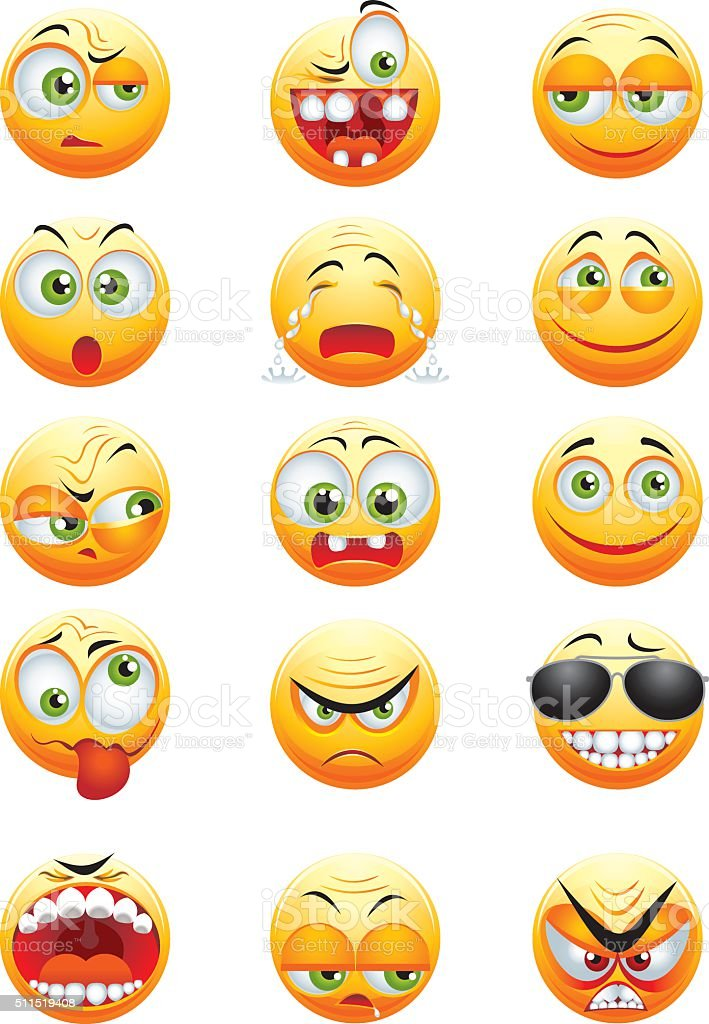 Ensemble de jaune emoticons - Illustration vectorielle