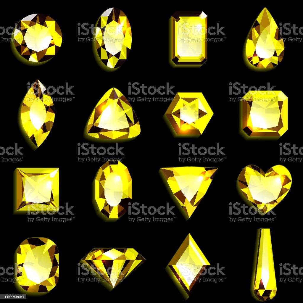 2a930bcd7286 Ilustración de Conjunto De Piedras Preciosas Amarillas De Varias ...