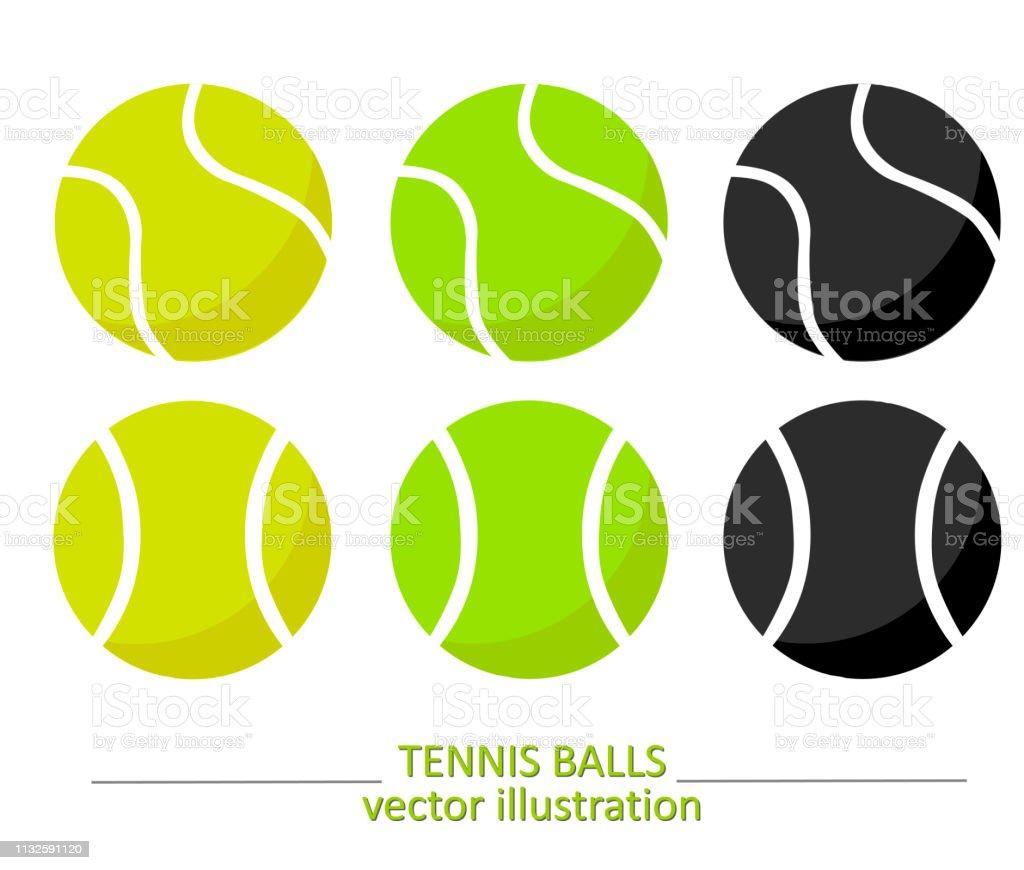 cd9b1f6fdeb0a Ensemble de balles de tennis de volume jaunes, vertes et noires sur fond  blanc.