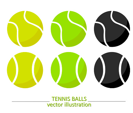 Set of yellow, green and black volume tennis balls on white background. Vector design. Sports, fitness, activity vector illustration. Vector elements of equipment for tennis. Realistic color version.