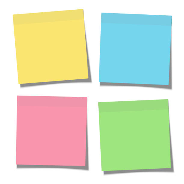 illustrazioni stock, clip art, cartoni animati e icone di tendenza di set of yellow, green, blue and pink paper sticky notes glued to the surface isolated on white - biglietto adesivo