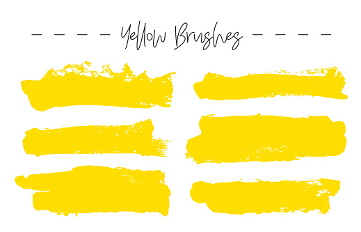 Set of yellow ink brush strokes.