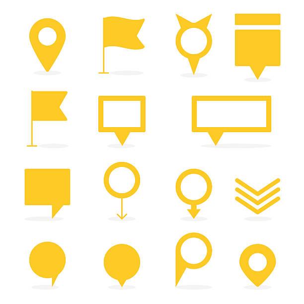 ilustrações, clipart, desenhos animados e ícones de conjunto de amarelas isoladas e marcadores formas diferentes de indicações - pin