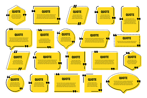 Set of yellow isolated quote frames. Speech bubbles with quotation marks. Blank text box and quotes. Blog post template. Vector illustration