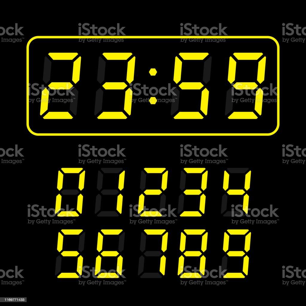 set of yellow led digital clock number isolated on black background....