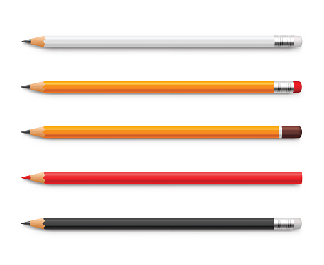 Set of yellow pencils, red and black, sharpened with a rubber band and without - stock vector.