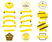 Set of Yellow ribbons, banners, badges and labels, isolated on a blank background. Elements for your design, with space for your text. Vector Illustration (EPS10, well layered and grouped). Easy to edit, manipulate, resize or colorize. Please do not hesitate to contact me if you have any questions, or need to customise the illustration. http://www.istockphoto.com/portfolio/bgblue