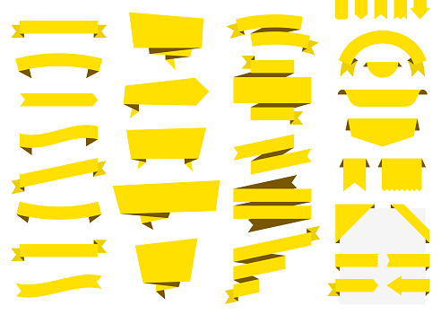 Set of Yellow Ribbons, Banners, badges, Labels - Design Elements on white background