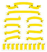 Set of Yellow ribbons and banners, isolated on a blank background. Elements for your design, with space for your text. Vector Illustration (EPS10, well layered and grouped). Easy to edit, manipulate, resize or colorize.