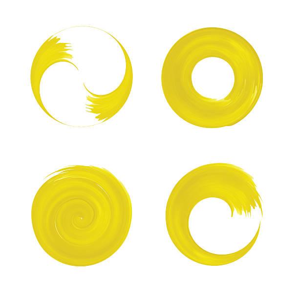 bildbanksillustrationer, clip art samt tecknat material och ikoner med set of yellow round element for design - buddhism