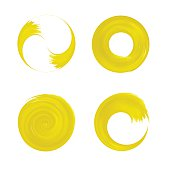 Set of yellow round element for design