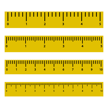 Set of yellow rulers with black scale and numbers. Vector illustration
