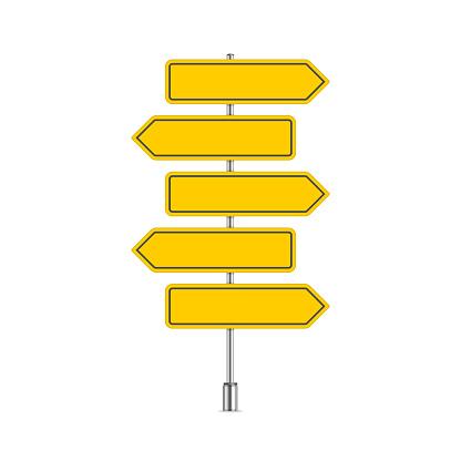 Set of yellow signpost.