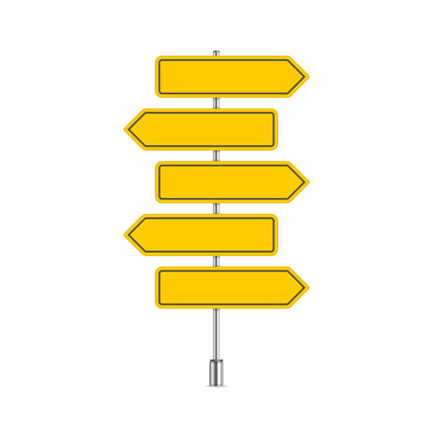 set of yellow signpost. - transparent stock illustrations