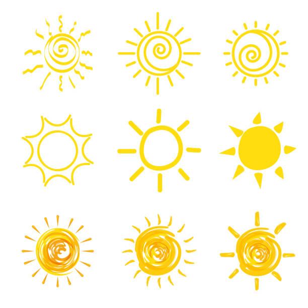 reihe von gelben sonne icons - schneeflocke sonnenaufgang stock-grafiken, -clipart, -cartoons und -symbole