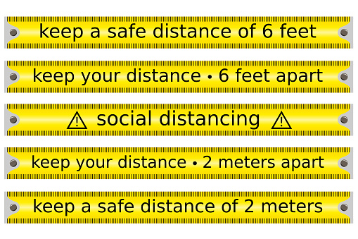 set of yellow tape caution concerning social or safe distancing in a outbreak period vector isolated