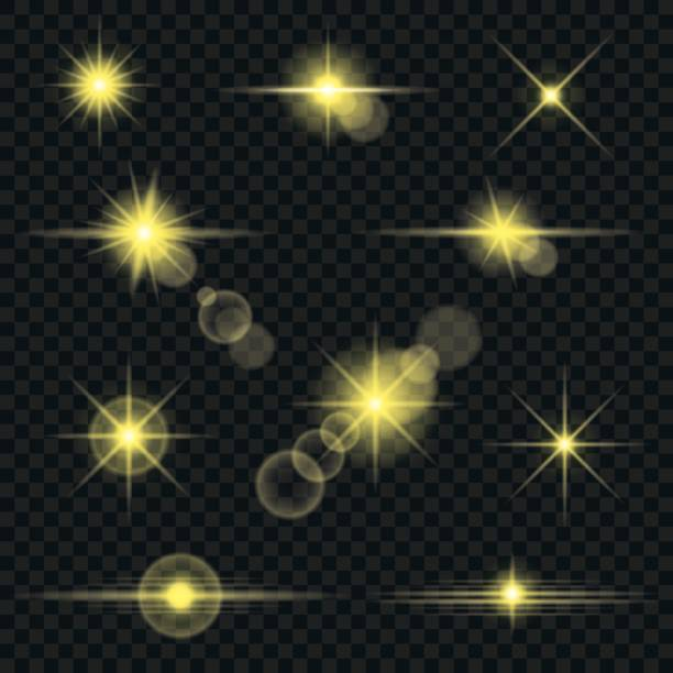 illustrazioni stock, clip art, cartoni animati e icone di tendenza di set of yellow transparent lens flares and lighting effects - flare