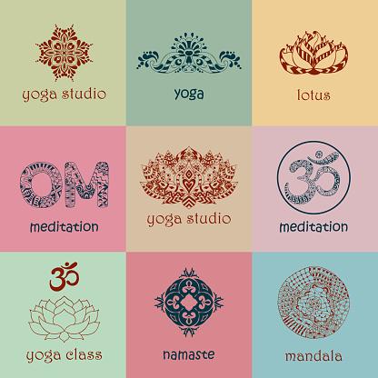 Set of yoga and meditation graphics and symbol symbols