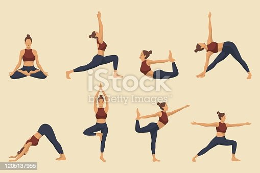 Set of yoga asanas. Young woman demonstrating various yoga or pilates positions isolated on light background. Concept health lifestyle. Sports female character. Stock vector illustration in flat style for sports blog.