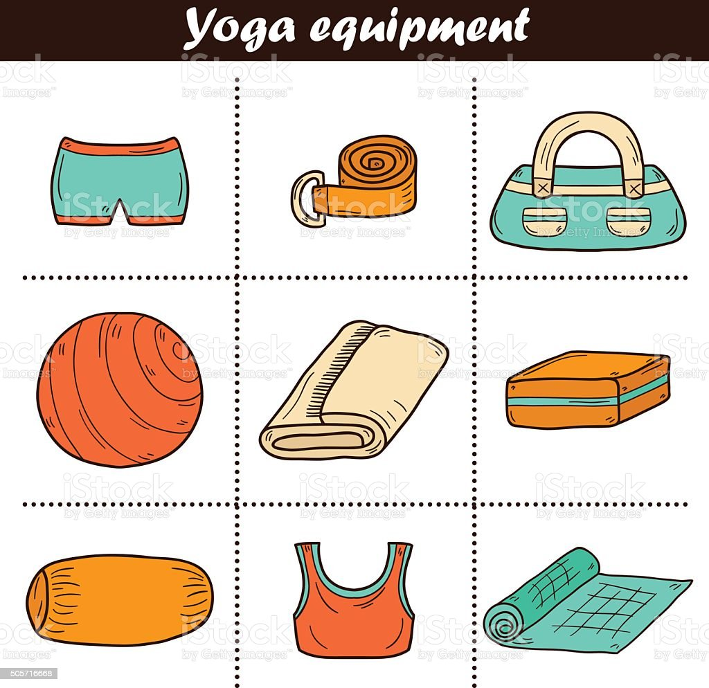 Set Of Yoga Equipment Icons Stock Vector Art   More Images of ... ffa908ae8
