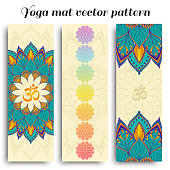 Set of yoga mat vector om and chakra pattern