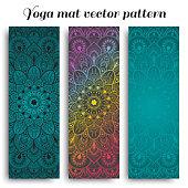 Set of yoga, pilates, meditation mats with hand drawn mandala pattern