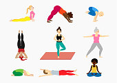 Set of yoga pose illustrations with women diversity