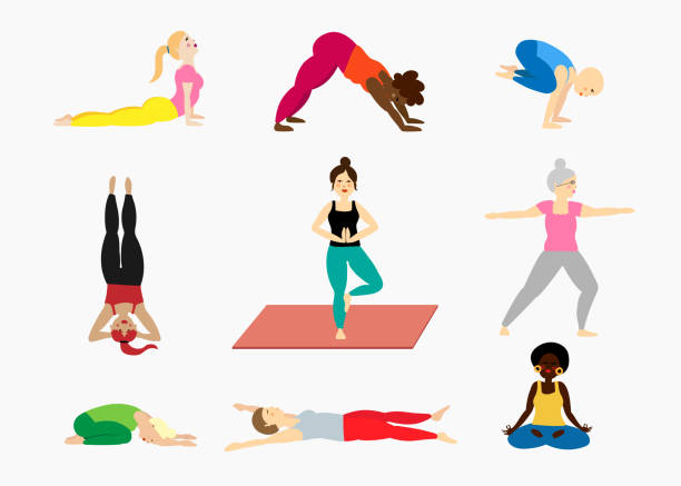 Set of yoga pose illustrations with women diversity vector art illustration