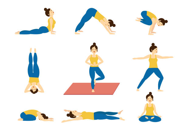 Set of yoga poses, illustrated vector art illustration