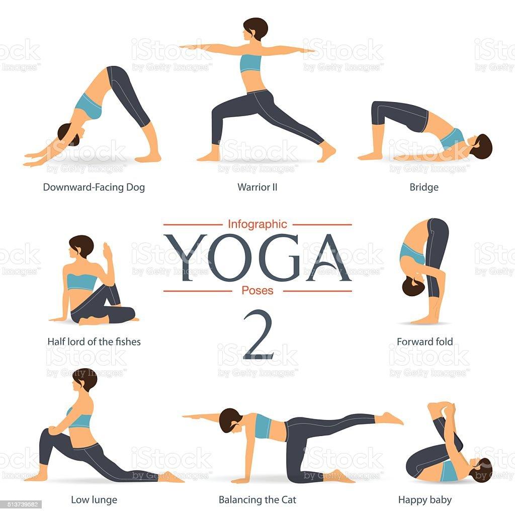 Set of yoga poses in flat design. Yoga infographics. vector art illustration