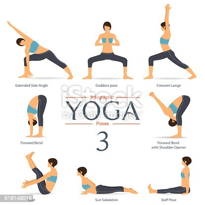 set of yoga poses in flat design yoga infographics stock
