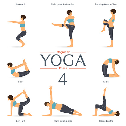 set of yoga poses in flat design yoga infographics vector