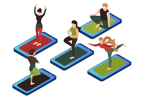 set of yoga poses yoga lessons in mobile app online yoga