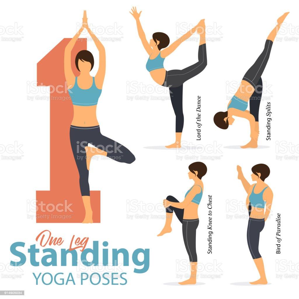 Eine Reihe Von Yoga Haltungen Frauengestalten Für Infografik 50 ...