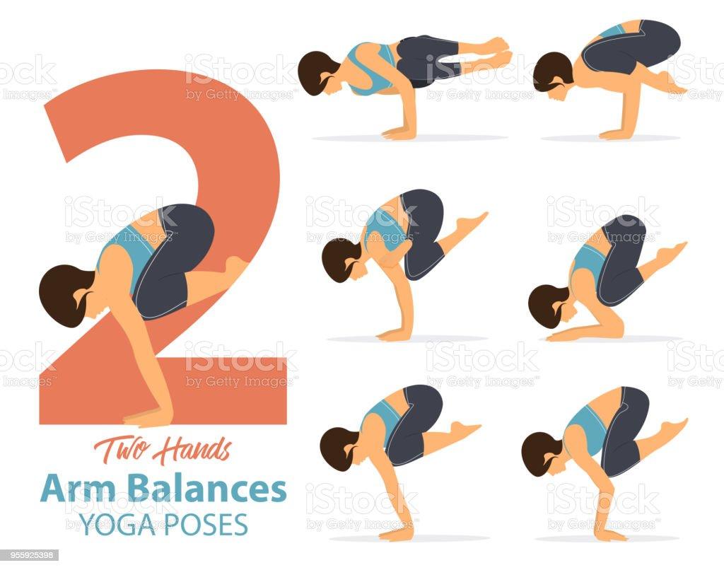 Eine Reihe Von Yogahaltungen Frauengestalten Für Infografik 50 Yoga ...
