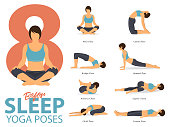 A set of yoga postures female figures for Infographic 8 Yoga poses for exercise before sleep in flat design. Woman figures exercise in blue sportswear and black yoga pant. Vector Illustration.
