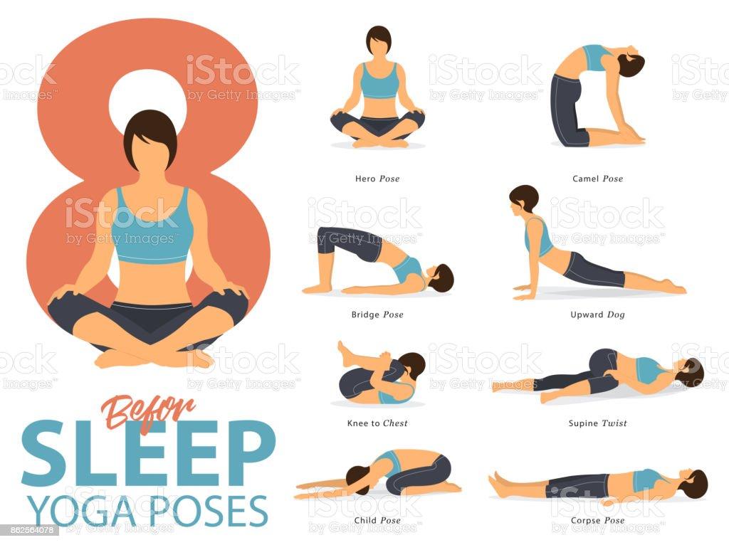 Un conjunto de figuras femeninas de yoga posturas de Yoga de 8 infografía posa para ejercicio antes de dormir en diseño plano. Ejercen de figuras de mujer en ropa deportiva azul y pantalón negro yoga. Vector de - ilustración de arte vectorial