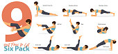 A set of yoga postures female figures for Infographic 9 Yoga best poses for get six pack in flat design. Woman figures exercise in blue sportswear and black yoga pant. Vector.
