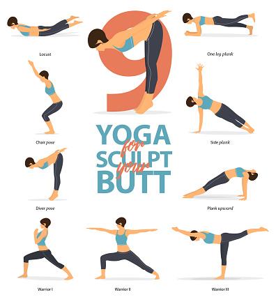 set of yoga postures female figures infographic 6 yoga