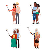 Set of young and elder couples taking selfie vector illustration