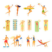 Set of Young and Senior People in Swim Wear Relaxing on Beach Jumping, Playing, Tanning, Summer Vacation, Fun Male and Female Characters Rejoice, Outdoors Activity. Cartoon Flat Vector Illustration