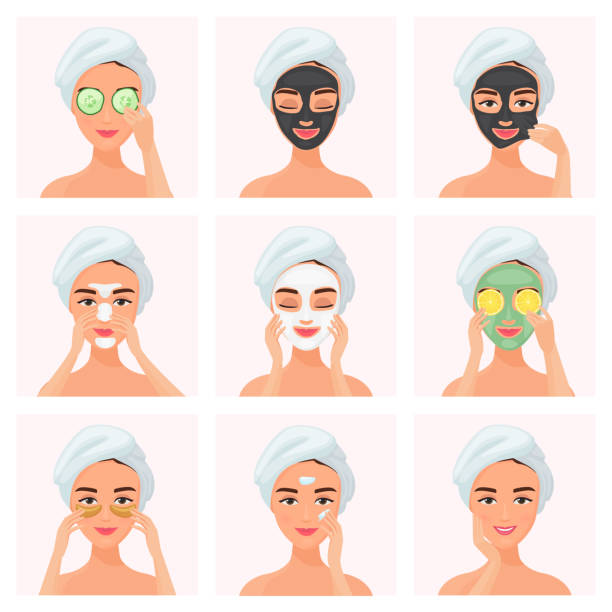 Set of young attractive well-groomed women using cucumber soaked eye mask, clay mask, under eye patches, normal, dry or problem skin caring mask, day and night cream isolated on white background. vector art illustration
