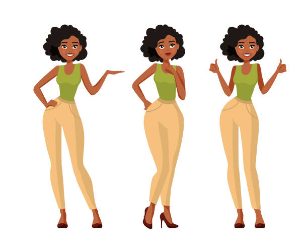 Set of young black woman in casual clothes in different poses with a variety of emotions. A character for your project. Vector illustration in a flat style. Set of young black woman in casual clothes in different poses with a variety of emotions. A character for your project. Vector illustration in a flat style. african american ethnicity stock illustrations