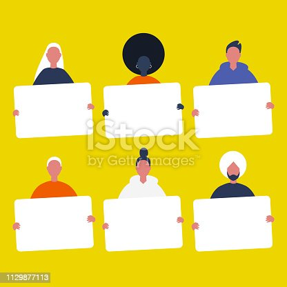 Set of Young characters holding sheets of white paper. Diversity. Copy space. Your text here, template. Flat editable vector illustration, clip art