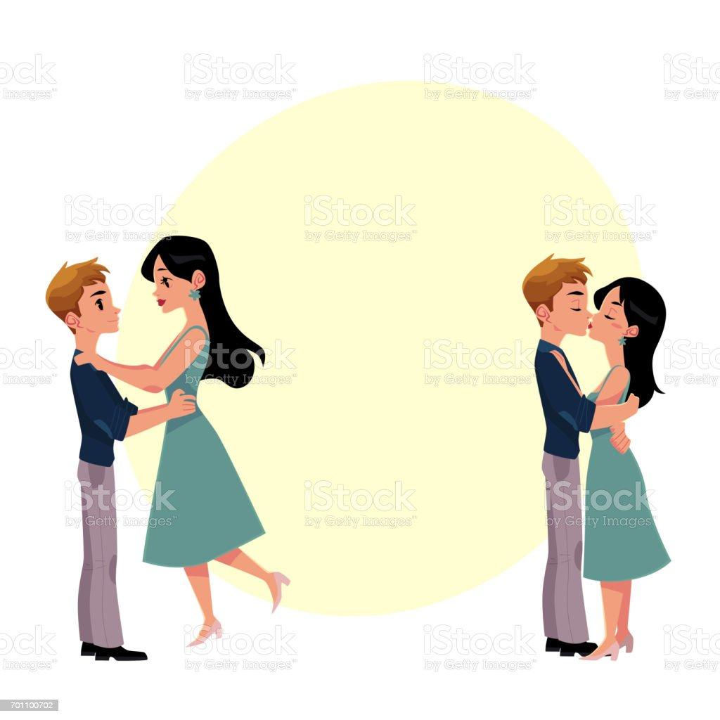 若いカップル男と女ロマンチックなキスのセット のイラスト素材