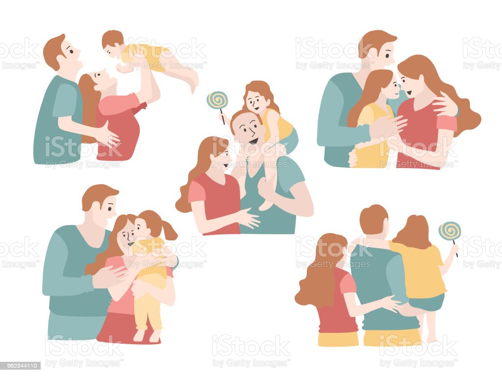 Set of young family are playing with their child, vector illustration. - Royalty-free Baby - Human Age stock vector