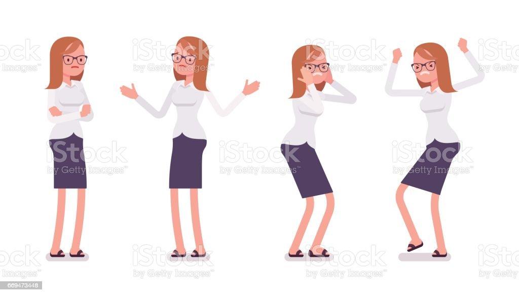 Sistema de Secretaria mujer joven mostrando emociones negativas vistas - ilustración de arte vectorial