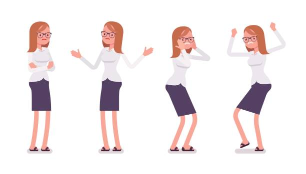 Set of young female clerk showing negative emotions front view vector art illustration