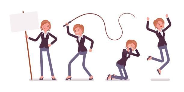 satz von jungen weiblichen manager gefühle, affektiven zustand auszudrücken - chefin stock-grafiken, -clipart, -cartoons und -symbole