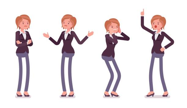 Set of young female manager showing negative emotions, different poses vector art illustration